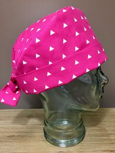 Bright Pink Triangle Surgical Scrub Hat, Women's Modern Pixie Scrub Hat, Custom Caps Company by CustomCapsCompany on Etsy