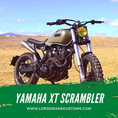 This is a Yamaha XT 600 T motorcycle customized by Lord Drake Kustoms in a Scrambler style. Xt 600 Scrambler, Dominator Scrambler, Yamaha Xt 600, Triumph Street Scrambler, Scrambler Custom, Yamaha Bikes, Old Motorcycles, Scrambler Motorcycle, Moto Bike
