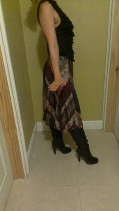 Coldwater Creek patchwork skirt jewel tones , beautiful