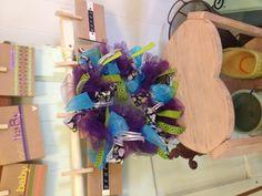 Small purple ribbon wreath