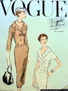 1950s PATOU SLIM DRESS PATTERN VOGUE PARIS ORIGINAL 1326 FACTORY FOLDED Bust 34