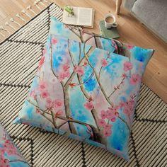 Floor Pillows, Throw Pillows, Large Cushions, Mixed Media Painting, Tote Bag, Artist, Stuff To Buy, Bags, Handbags