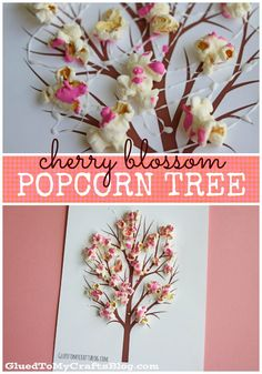 Cherry Blossom Popcorn Tree Kid Craft w/free printable template - love this idea for Spring craft!