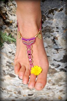Macrame and Brass Barefoot Sandal by stoneagetale, $50.00