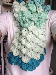 jgfelina's Mermaid's scarf made with this free crochet pattern - Rio Crocodile Stitch Scarf by Michael Sellick using Caron Cakes Faerie Cake Yarn.