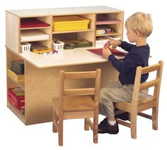 Childcraft Single-Sided Junior Writing Center, 36-1/4 W x 29-1/2 D x 32-1/4 H in