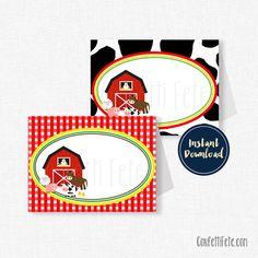 Farm Animals Food Labels Barnyard Buffet Cards por ConfettiFete