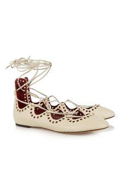 Isabel Marant Leo Snake-Effect Leather Ballet Flats Off-White - Isabel Marant