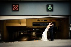A quirky, urban wedding image from Seattle wedding photographer, Jenny GG Photography