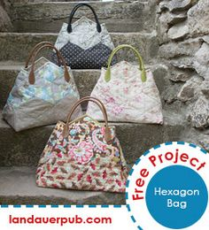 Free PDF pattern - An easy, cute bag designed by Carolyn Forster for the release of her latest book, Hexagon Happenings