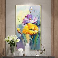Gold art acrylic flower abstract paintings wall art pictures for living room wall decor blue thick texture canvas original home decoration - Gold acrylic flower wall decor abstract paintings on canvas Oil Painting Flowers, Watercolor Flowers, Easy Watercolor, Green Canvas Art, Blue Canvas, Wall Art Pictures, Art Floral, Flower Art, Abstract Paintings