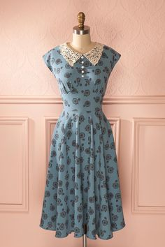 Marla - Blue bicycle print lace collared midi dress #aline #blue #light #buttons #pastel #print #retro #vintage #shortsleeves
