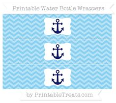 Baby Blue Chevron  Nautical Water Bottle Wrappers