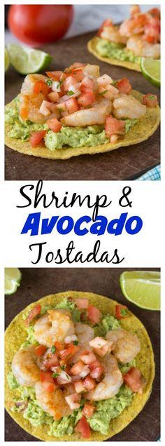 Shrimp & Avocado Tostadas – a fun and easy way to get Mexican food on weeknigh. Shrimp & Avocado Tostadas – a fun and easy way to get Mexican food on weeknights, in minutes! Crispy tostadas topped with guacamole, spiced shrimp, and your favorite salsa. Avocado Recipes, Fish Recipes, Seafood Recipes, New Recipes, Cooking Recipes, Healthy Recipes, Tostada Recipes, Mexican Shrimp Recipes, Recipes With Guacamole