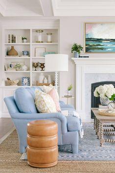 Cottage Living Rooms, Living Room Sofa, Living Room Decor, Coastal Living, Dining Room, Living Room Colors, Living Room Designs, Light Blue Sofa, Transitional Living Rooms