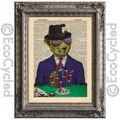 New to EcoCycled on Etsy: Cheetah Cheater with Poker Cards on Vintage Upcycled Dictionary Art Print Book Art Print Recycled Wild Cat Amazing Animalia (10.00 USD)