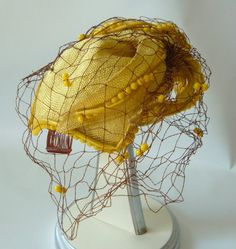 Vintage Bes Ben Hat Chicago Yellow Beaded with by MagpieAntiques