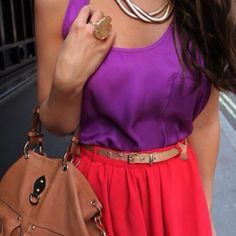 tank top tucked into short chiffon skirt | vibrant purple and red | casual romantic spring summer