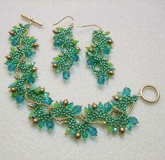 Beaded Bracelet and Earrings for Spring
