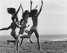 RUNNING FREE...  Postcard Girls running on the beach at Point Conception, California, 1979. Photo by Bruse Weber. Mature, nude.