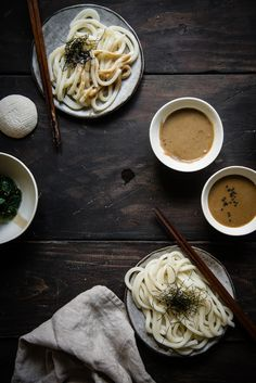 Udon Noodles with Sesame Dipping Sauce | two red bowls