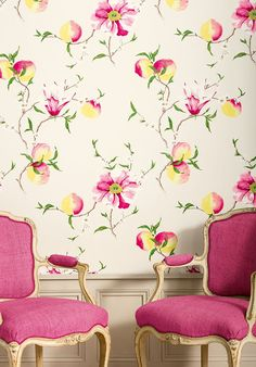 Large scale flower and fruit bough motif wallpaper design in rose, pink and yellow