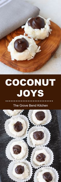 Coconut Joys are little chocolate-coconut melt-in-your-mouth confections! They are more of a candy rather than a cookie. Coconut Joys are perfect for any celebration! The dark chocolate can replaced with colored melted chocolate to match your occasion. Coconut Balls, Melted Chocolate, Blonde Women, I Want To Eat, Gluten Free Chocolate, Cookie Jars, Kitchen Recipes, Christmas Baking, Popular Pins
