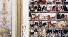 Closet with Glass Shoe Shelves