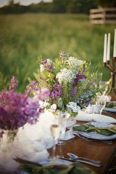 purple and white wedding table 275x412 Romantic Farm Wedding Inspiration