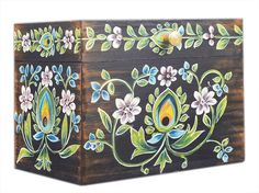 Store Indya Vintage Handmade Wooden Jewelry Keepsake Trinket Storage Memory Floral Design for Home Decor (Multicolor Painted Wooden Boxes, Wooden Storage Boxes, Hand Painted, Cool Paintings, Jewelry Holder, Wooden Jewelry, Handmade Wooden, Floral Design, Decorative Boxes
