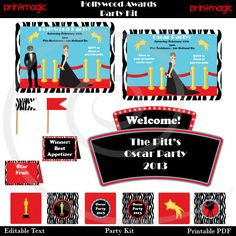 Instant Download Hollywood Party Printable Kit with by printmagic