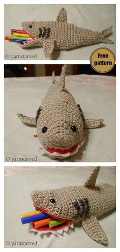 Shark Pencil Case Free Crochet Pattern #freecrochetpatterns #pencilcasepattern