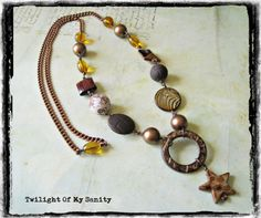 Brown asymmetrical necklace, opera length from Twilight of My Sanity jewelry by DaWanda.com