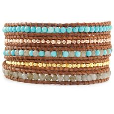 Turquoise and Lab Wrap Bracelet on Natural Brown Leather