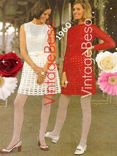 Digital Pattern  Ladies Dress Crochet Pattern  Vintage Beso