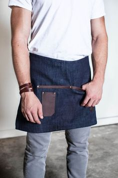 Denim & Leather Half Apron Made in the U.S.A by AuthenticSundry: