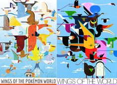 Wings of the Pokemon World by M. Dugarchomp Original: Wings of the World by Charley Harper