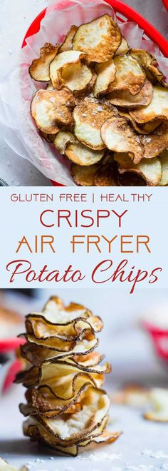 Potato Chips - These EASY Air Fryer Potato Chips are perfectly crispy and crunchy and only use 2 ingredients! You'll never believe they are healthy, vegan, gluten free and only 75 calories for a large serving! Air Fryer Chips, Air Fryer Potato Chips, Air Fry Potatoes, Air Fryer Recipes Potatoes, Fried Potato Chips, Fried Chips, Air Fryer Oven Recipes, Air Fry Recipes, Gourmet Recipes
