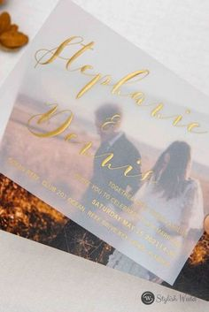 Modern caligraphy rose gold/gold/silver foil wedding invitations with your own engagement photos make the cards so unique. Translucent paper make a more attractive and custom design.