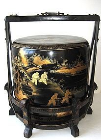 Antique Chinese lacquered wedding food containers (stackable)