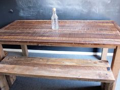 Rustic wood tables, benches handmade by Sean Woolsey