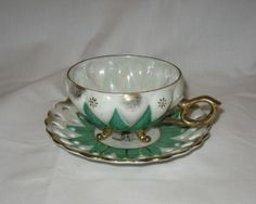 Japanese-Iridescent-3-Footed-Cup-Saucer-Green-White-w-Gold-Trim