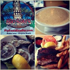 Big Sam's is a local favorite place to eat in Virginia beach- which fresh seafood overlooking the fishing pier.