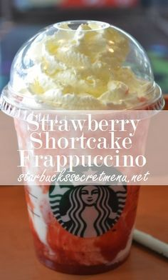 Strawberry shortcake frappuccino from starbucks Starbucks Frappuccino, Starbucks Secret Menu Drinks, Yummy Drinks, Yummy Food, Yummy Yummy, Healthy Drinks, Smoothies, Coffee Recipes, Fondue Recipes