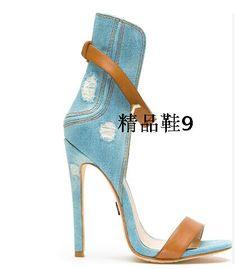 new concept 48a9d 02b3a 66.23 5% de DESCUENTO Venta caliente diseñador azul Vaqueros tobillo  Correas Tacones altos Sandalias recorte punta abierta marrón hebilla  zapatos mujer ...