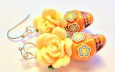 Sugar Skull Earrings Day of the Dead Earrings Orange Dia De Los Muertos Earrings by PennysLane on Etsy