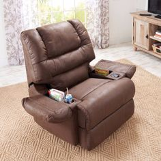 La Z Boy Cool Cooler Leather Recliner Mage Built In Fridge Coaster  Delangelo Casual With Cup Holders Storage  Recliner With Cup Holder And Storage O44