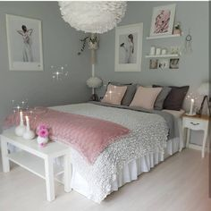 An improved, feminine bedroom that provides an area to remainder, research study. An improved, feminine bedroom that provides an area to remainder, research study or captivate pals in vogue. Pops of pin. Girl Room, Room Inspiration, Bedroom Themes, Cute Bedroom Ideas, Bedroom Makeover, Bedroom Decor, Bedroom Decorating Tips, Bedroom Design, Feminine Bedroom