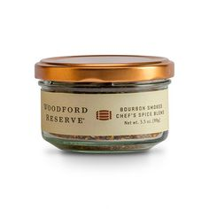 The Woodford Reseve® Chef's Spice Blend contains Bourbon Smoked Salt, Bourbon Smoked Pepper, Bourbon Smoked Paprika, Bourbon Smoked Sugar, garlic and parsley.    Combining all three smoked spices with the Bourbon Smoked Sugar and a few other ingredients, this spice blend hits all of the smoky notes created by bourbon barrels. This spice blend is great for simple meat rubs, grilling recipes, or even over a fried egg.