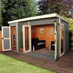 12 x 8 Waltons Contemporary Summerhouse with Side Shed shed design shed diy shed ideas shed organization shed plans Shed Office, Backyard Office, Backyard Sheds, Outdoor Sheds, Backyard Studio, Backyard Storage, Outdoor Office, Outdoor Tools, Backyard Patio